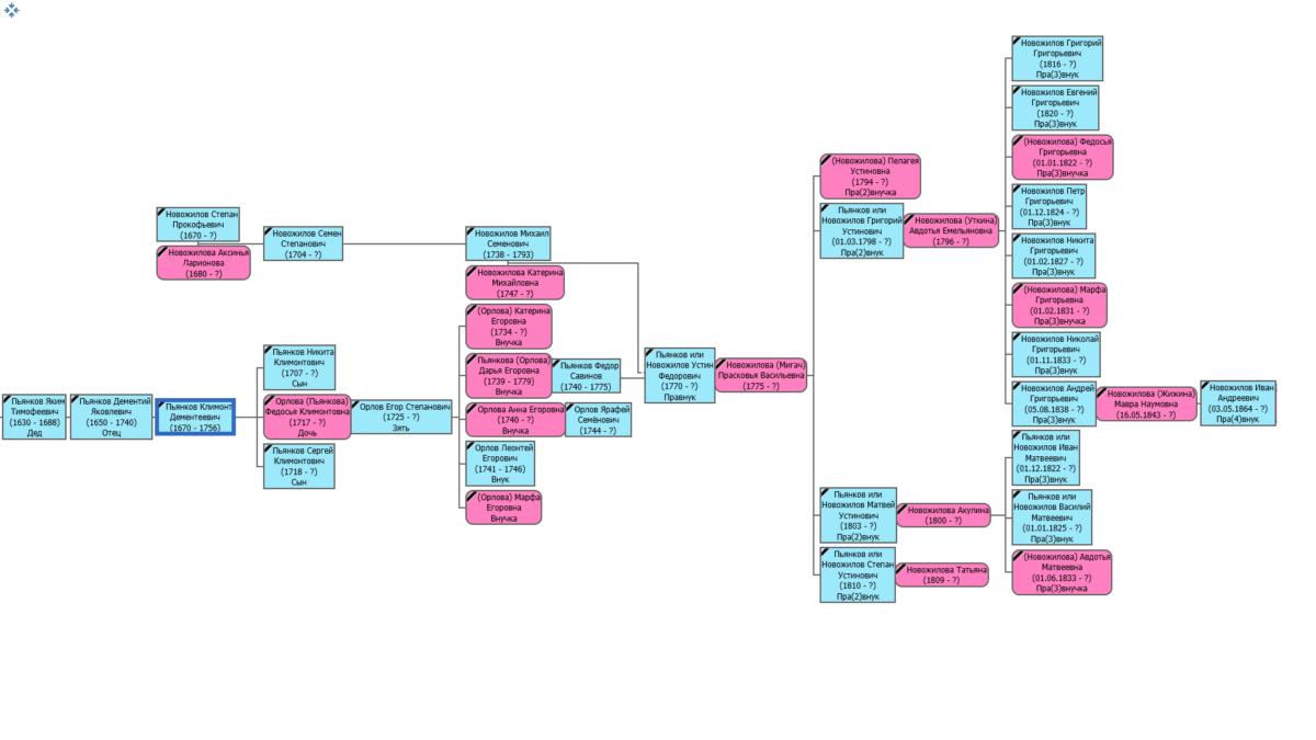 Горизонтальная схема генеалогического дерева. генеалогическое