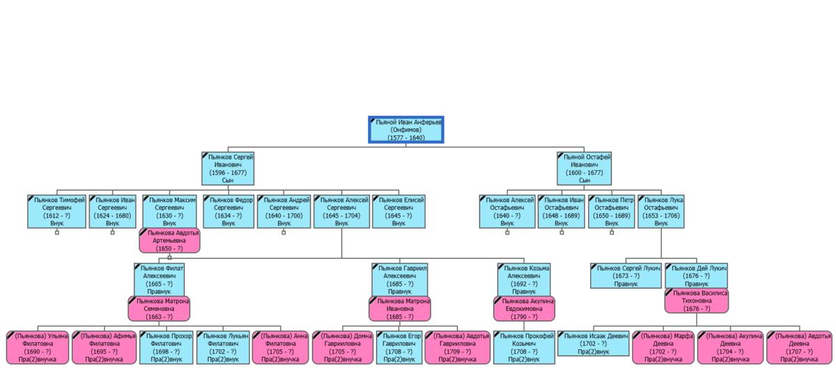 Вертикальное нисходящее родословное генеалогическое дерево, предки находятся вверху