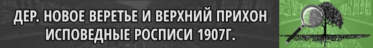 Деревни Новое Веретье и Верхний Прихон Новгородская губерния исповедные росписи 1907 год