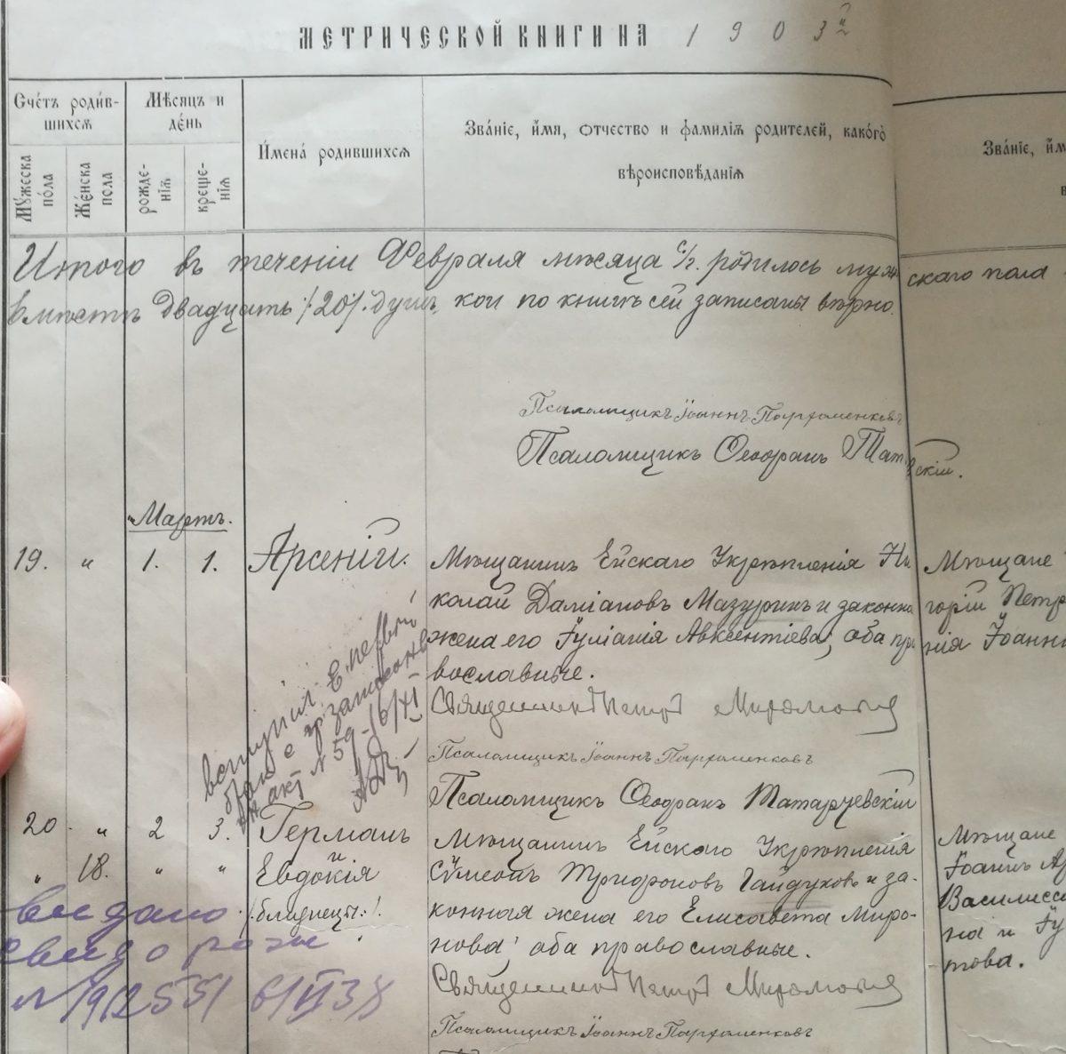 Метрическая книга, часть 1 о родившихся за 1903 год. Указано, что выданы свидетельства о рождении в 1938 году, а также свидетельство о заключении брака. Метрические книги