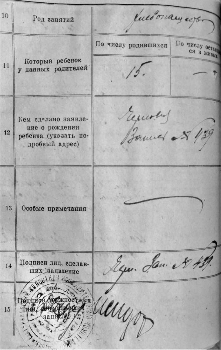 запись о рождении 1923 год Ейское укрепление 15 ребенок в семье пример книги