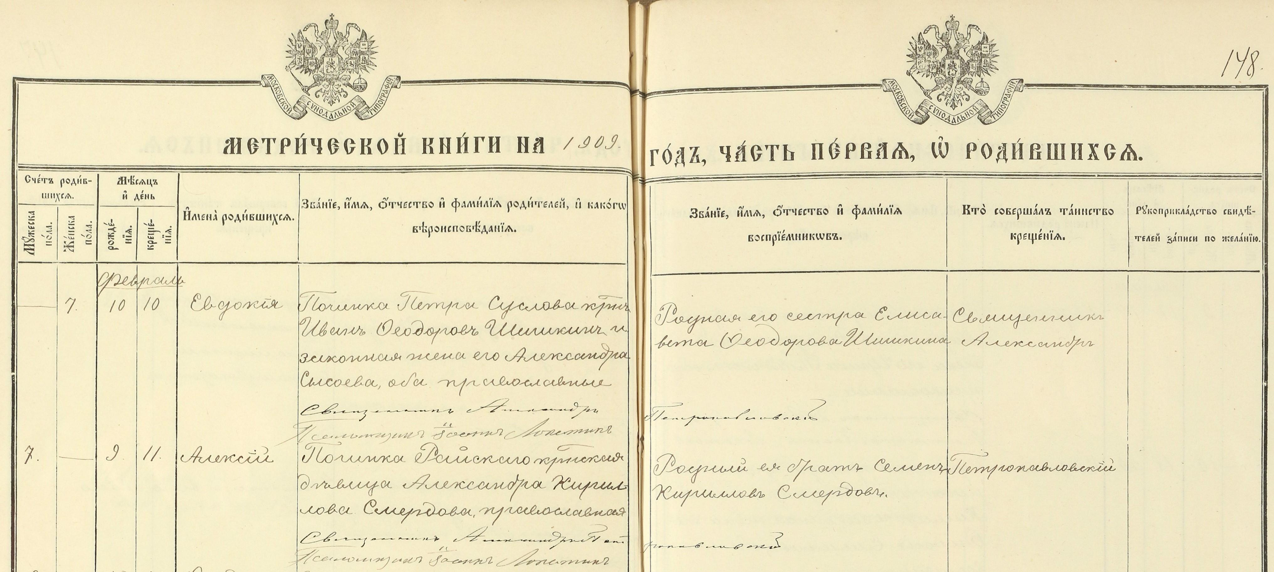 Метрическая книге Вятской губернии за 1909 год, запись о рождении Алексея Смердова