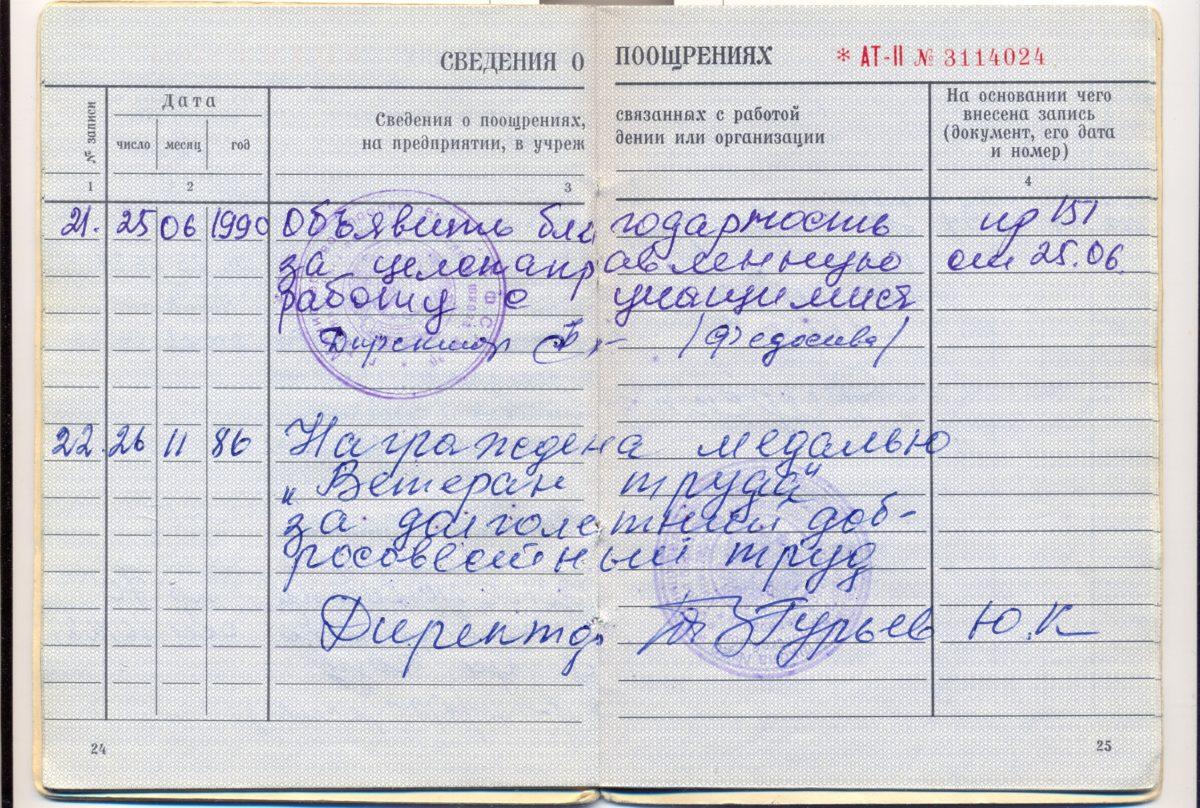 Раздел сведения о поощрения из вкладыша в трудовую книжку Смердовой (Поповой Нины Николаевны)