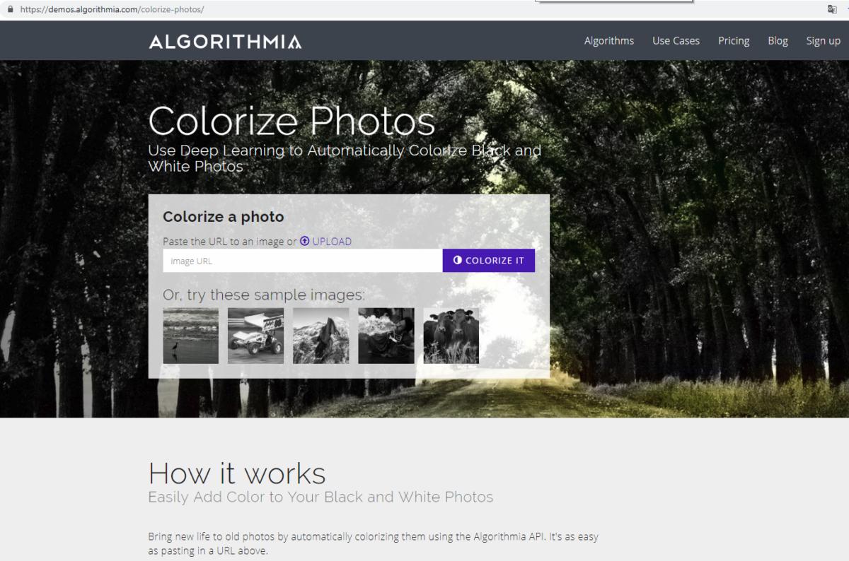 Главная страница сервиса по раскраске фото demos.algorithmia.com/colorize-photos