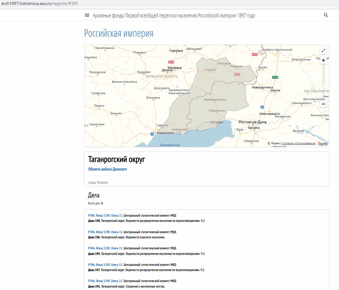 АСУ Первая всеобщая перепись населения Российской империи Таганрогский округ