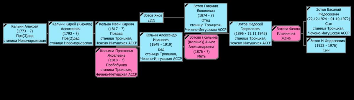 Генеалогическое дерево Зотова Федосея Гавриловича, станица Троицкая и Слепцовская ЧИАССР