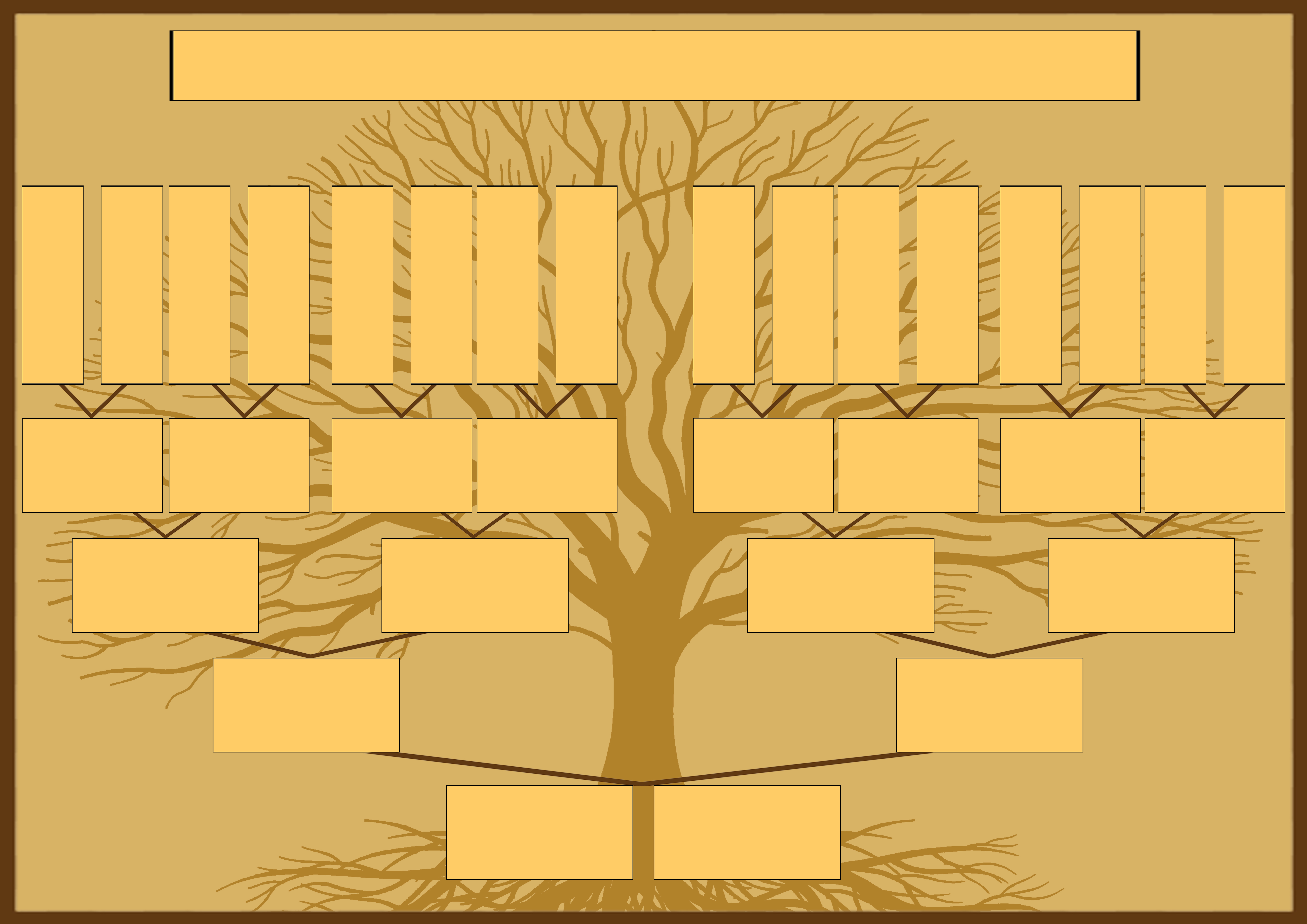 Шаблон генеалогического древа для семьи с двумя детьми для самостоятельного заполнения