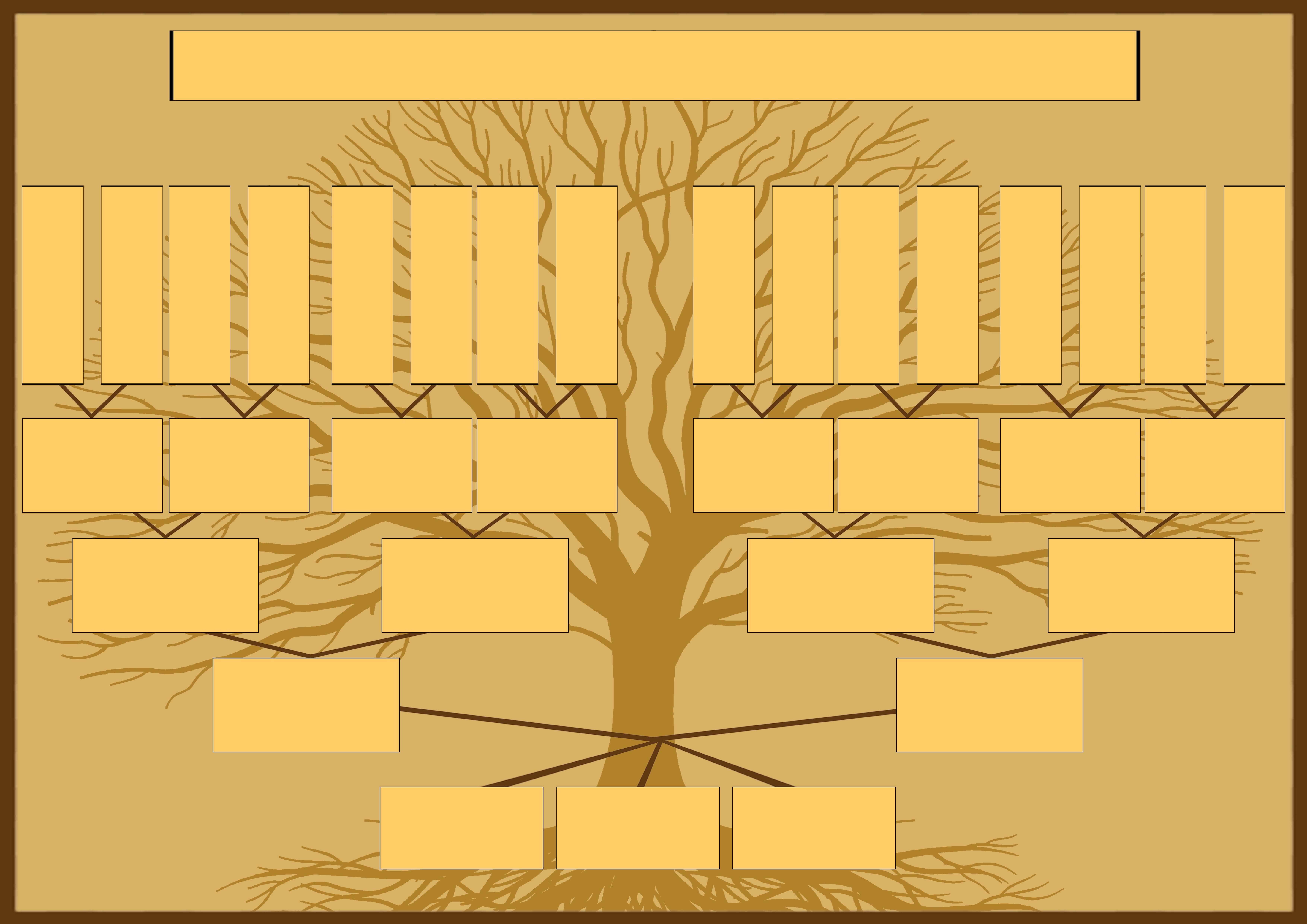 Шаблон семейного дерева для семьи с тремя детьми для самостоятельного заполнения