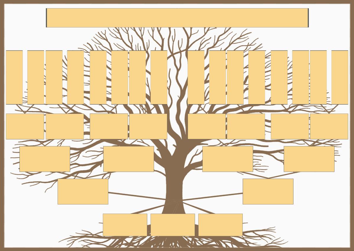 Шаблон генеалогического древа для семьи с тремя детьми для самостоятельного заполнения