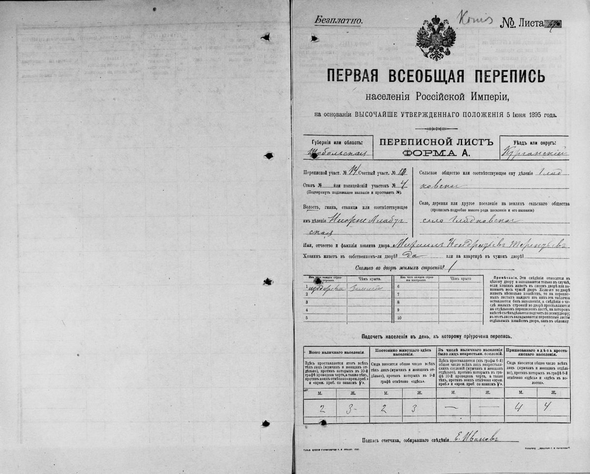 Первая Всеобщая перепись населения 1897 года форма А