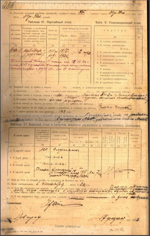 Крайс Ян Францевич, 1900г.р., член партии большевиков. Оборотная сторона анкеты партийной переписи