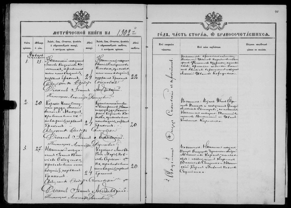 Метрическая книга о записи бракосочетания православных за 1902 год. Черниговский уезд.