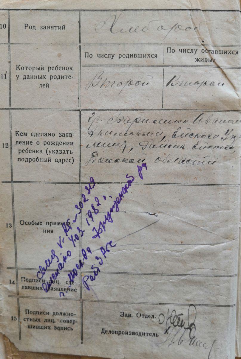 Отметка в книге ЗАГС о рождении 1924 года о том, что выдано свидетельство о рождении 4.03.1982 года.