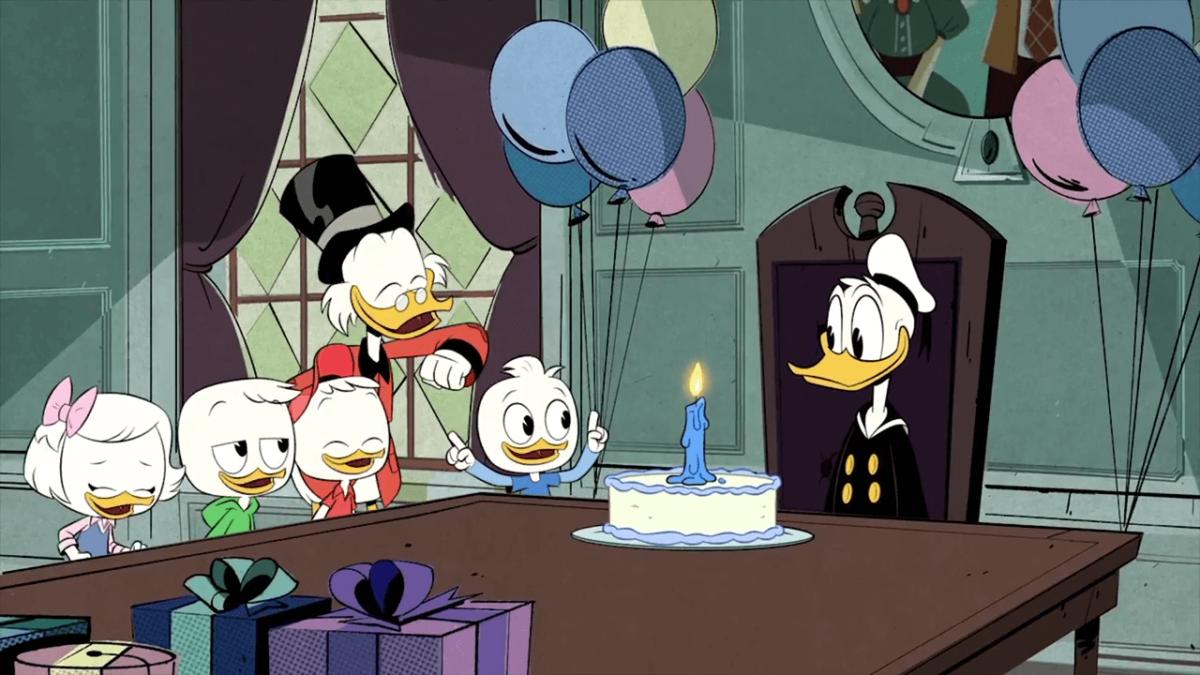 """Слева направо: Поночка, Дилли Дак, Билли Дак, Скрудж МакДак, Вилли Дак, Дональд Дак. """"Утиные истории. Новые"""""""