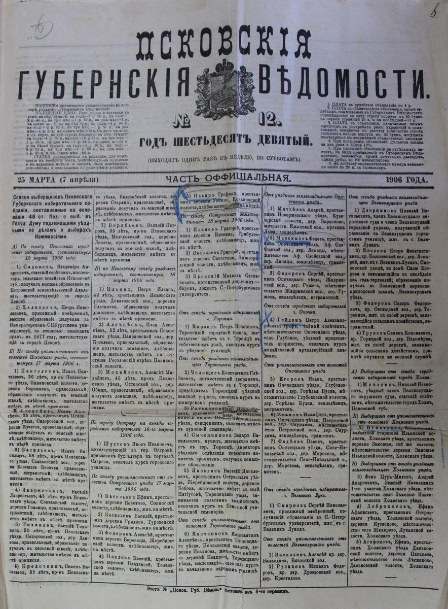 Псковские Губернские Ведомости, 25 марта (7 апреля) 1906 год, выборщики Псковского губернского избират. собрания
