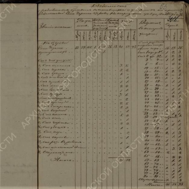 Причины смерти 19 век, итоговая таблица метрической книги