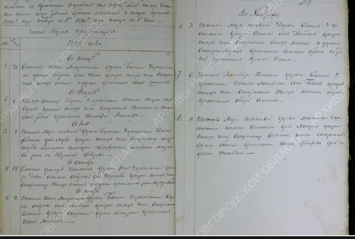 Метрическая книга часть 1 о родившихся, Новгородская губерния. Внебрачные дети