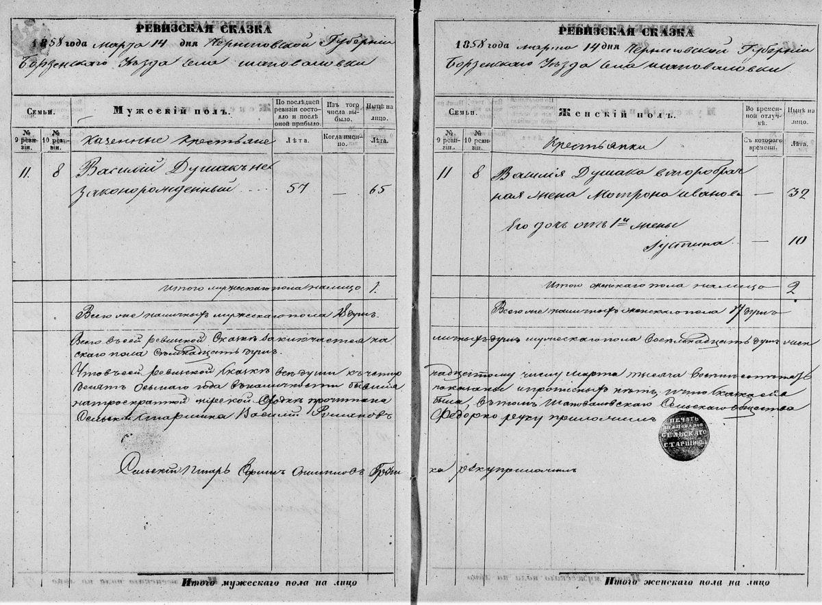 """Вместо отчества указано """"Незаконнорожденный"""" в ревизской сказке Черниговской губернии"""