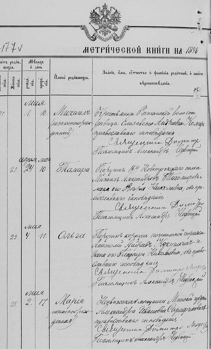 Метрическая книга Вильно, Литва, 1898 год. Запись о незаконнорожденном ребенке. незаконнорожденный ребенок