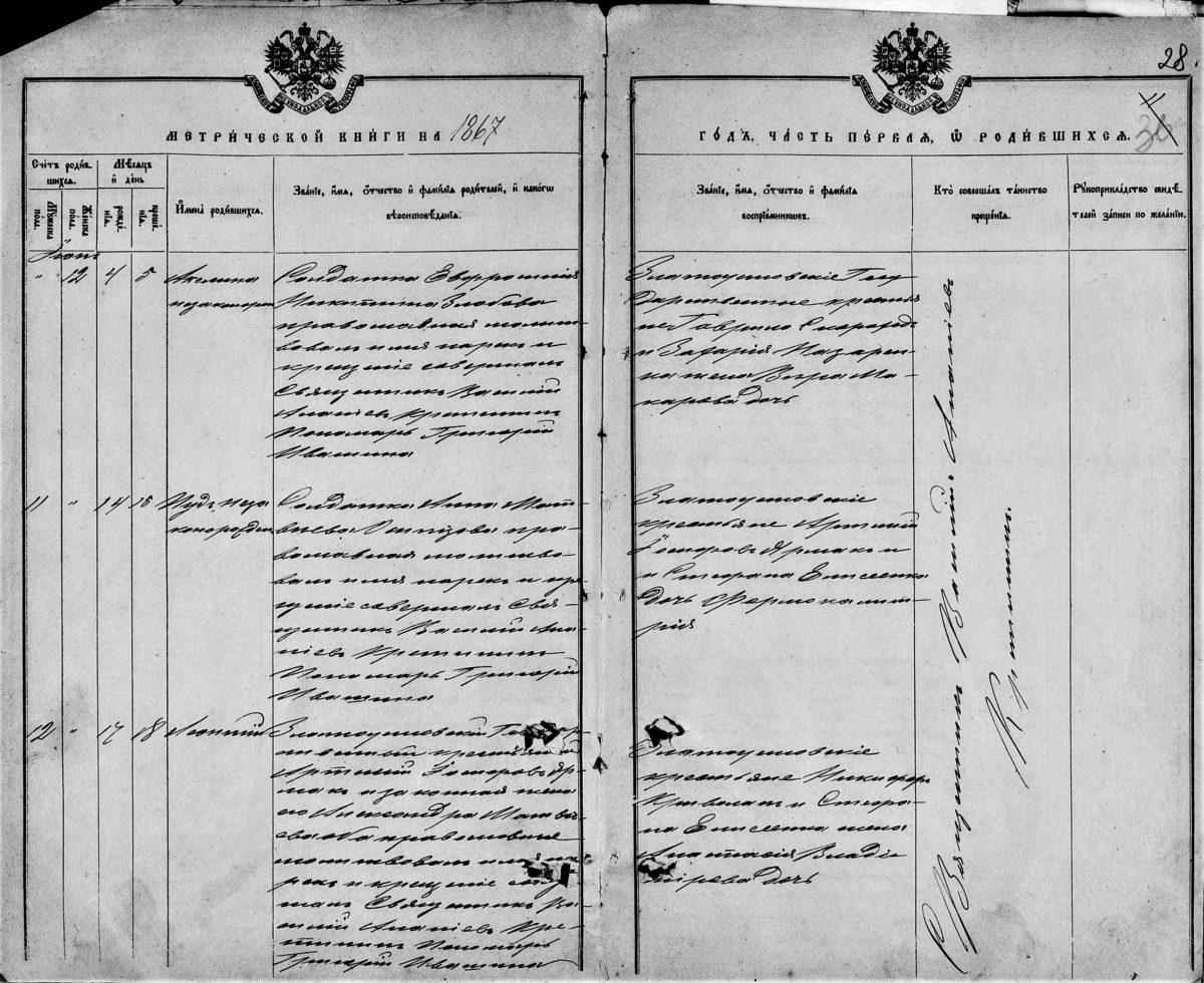 Запись о рождении у солдаток внебрачных детей в 1867 году, село Златоустовка, Донецкая губерния.