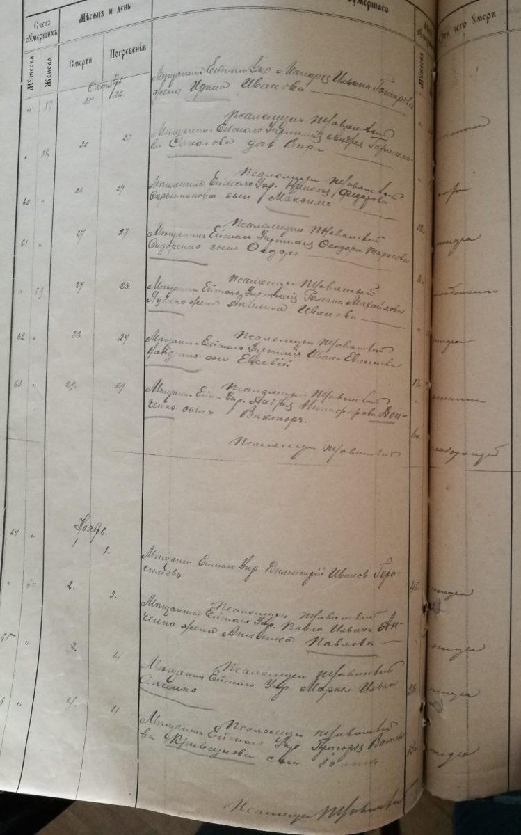 Метрические записи  за 1919 год, метрическая книга об умерших