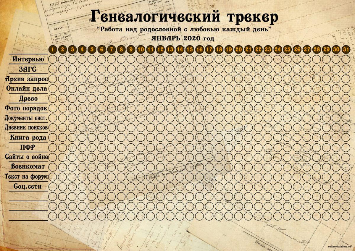 Январский генеалогический трекер (скачайте ниже по ссылке в большом разрешении)