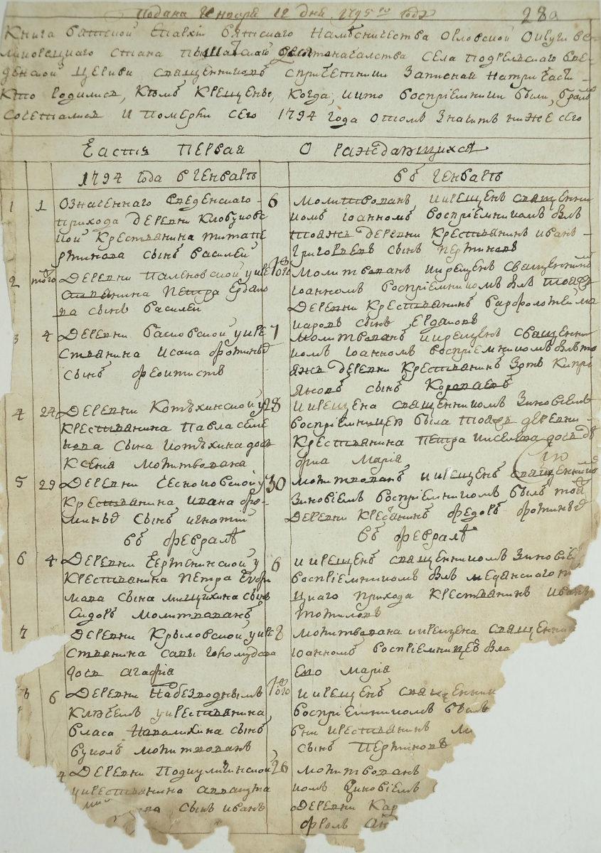 Метрическая книга часть 1 о родившихся, 1794 год. Источник ГАКО ф.-237-оп.-75-д.-1051-л.-28
