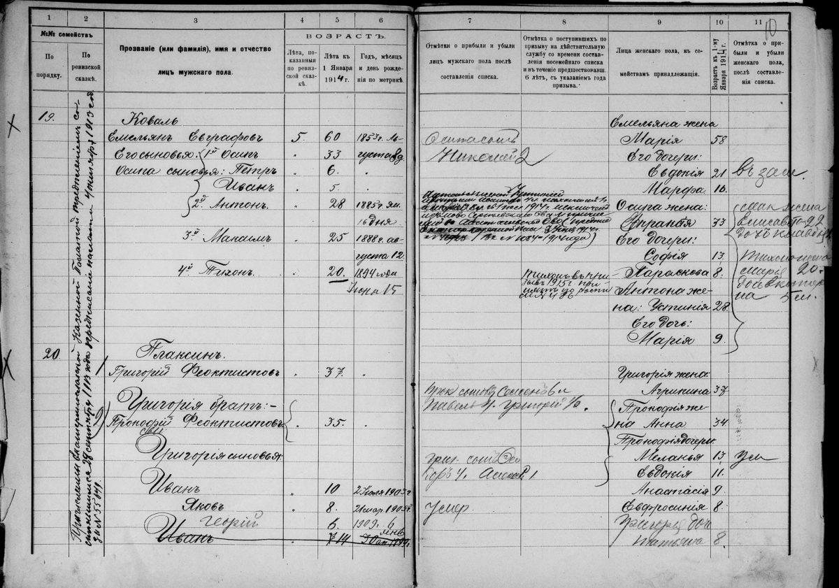 Посемейные списки семей Коваль и Плаксиных, 1914 год, Екатеринославская губерния