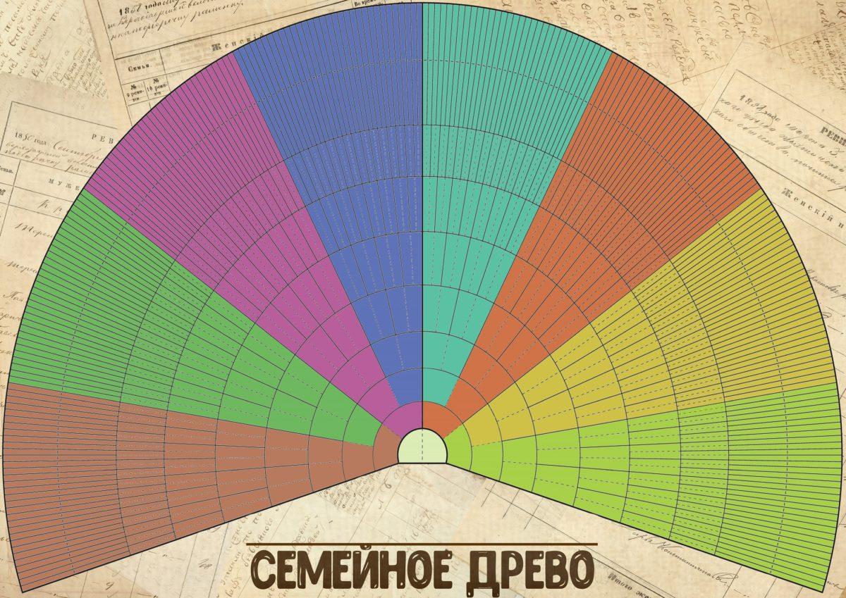 Цветное генеалогическое древо. Скачайте изображение большого формата по ссылке ниже, распечатайте и внесите имена ваших прямых предков