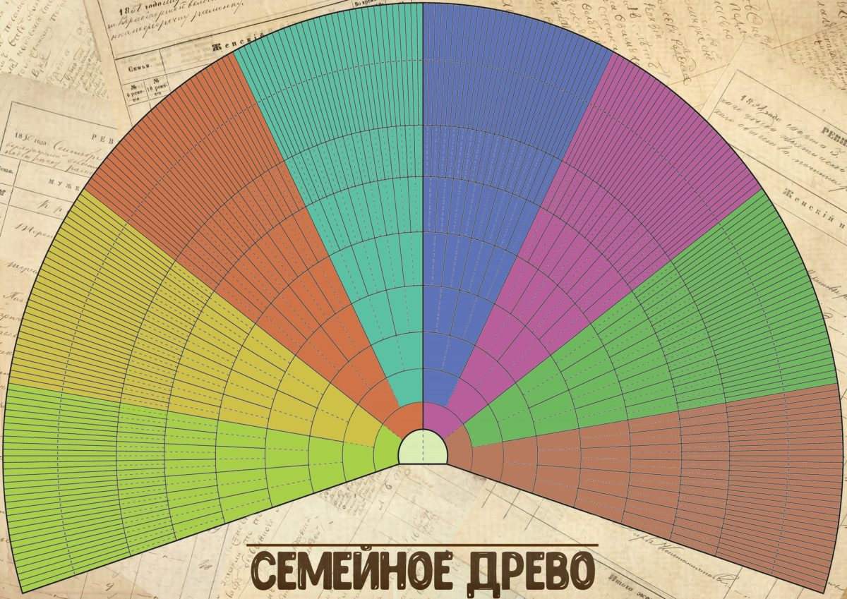 Цветное круговое генеалогическое древо для внесения данных о прямых предках в 10 поколениях.