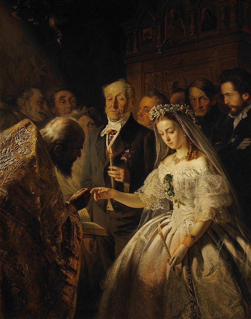 Известная картина {amp}quot;Неравный брак{amp}quot; В. Пукирев, 1862 год.