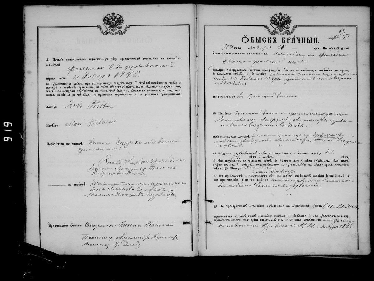 Брачный обыск за 1896 год. Брачные обыски - анкета для собирающихся пожениться в 18-19 веке.