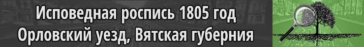 Исповедная роспись 1805 год Орловский уезд Вятская губерния