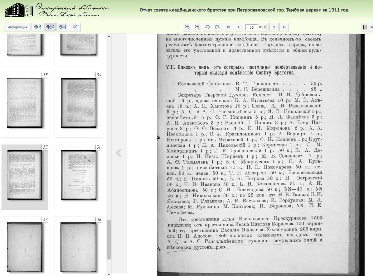 Тамбов: отчеты и списки Кладбищенского братства, 1911год