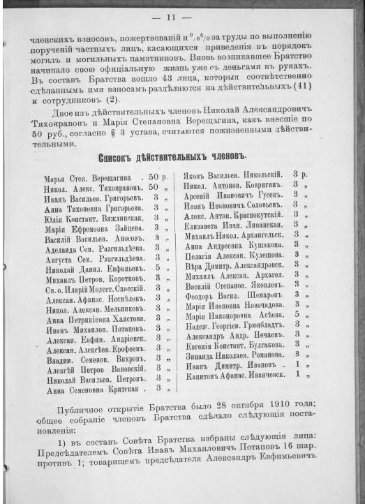 Тамбов: отчеты и списки из «Отчета совета кладбищенского братства при Петропавловской гор. Тамбова церкви за 1911 год».