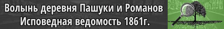 Волынь деревня Пашуки и Романов, Исповедная ведомость 1861г.