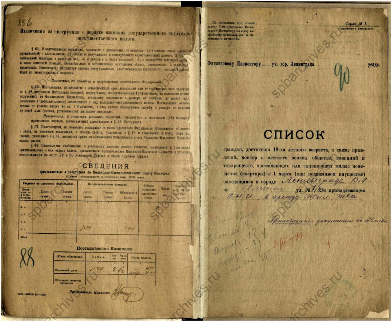 Список налогоплательщиков Ленинграда, ул. 12 линии. Налог в СССР