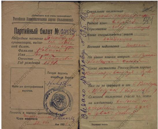 Фамилия Новиков. Партийный билет Российской Коммунистической партии (большевиков) в 1921 году