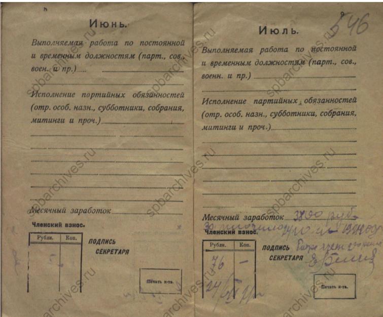 Доходы и членские взносы. Фамилия Новиков, 1921г. ЦГАИПД СПб