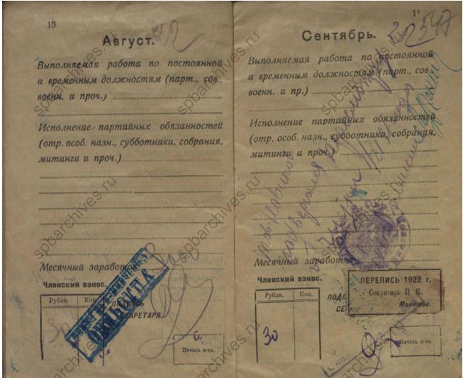 Партийный билет Российской Коммунистической партии (большевиков) в 1921 году содержал важные биографические сведения.