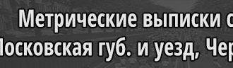 Метрические выписки по приходу села Черкизово, Московская губерния, Московский уезд, Черкизовская волость
