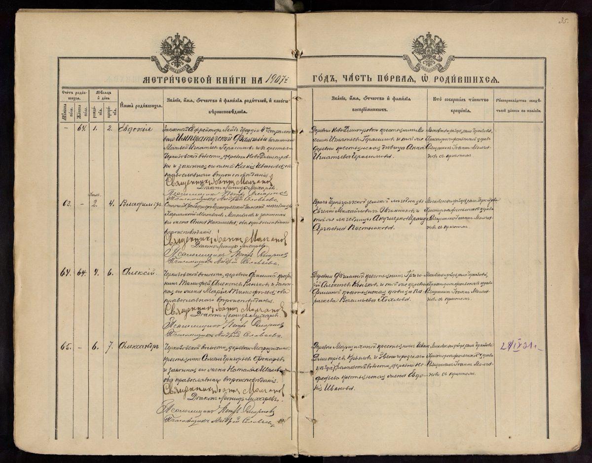 Метрические книги Московской губернии села Черкизово, 1907 г. ч.3